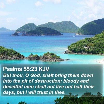 Psalms 55:23 KJV Bible Verse Image
