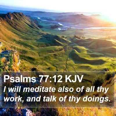 Psalms 77:12 KJV Bible Verse Image