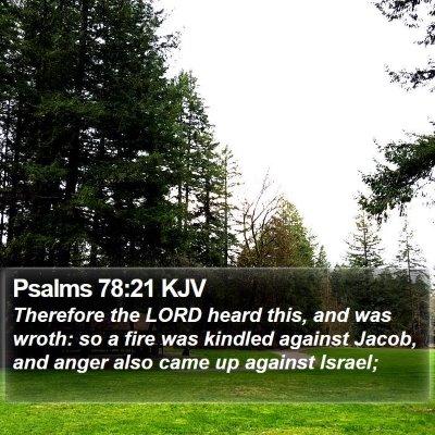 Psalms 78:21 KJV Bible Verse Image