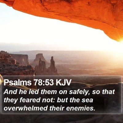 Psalms 78:53 KJV Bible Verse Image