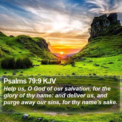 Psalms 79:9 KJV Bible Verse Image