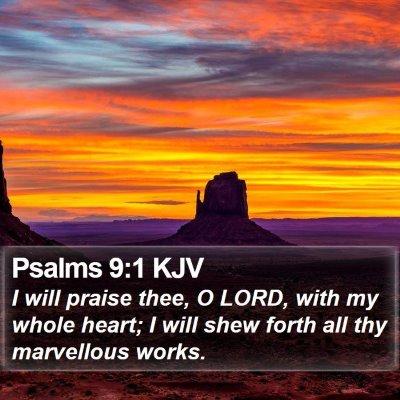 Psalms 9:1 KJV Bible Verse Image