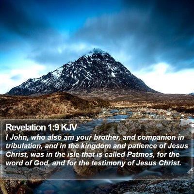 Revelation 1:9 KJV Bible Verse Image
