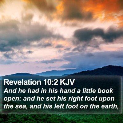 Revelation 10:2 KJV Bible Verse Image