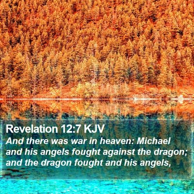 Revelation 12:7 KJV Bible Verse Image