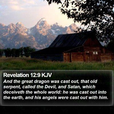 Revelation 12:9 KJV Bible Verse Image