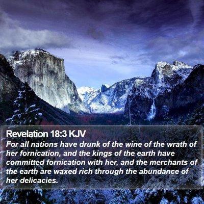 Revelation 18:3 KJV Bible Verse Image