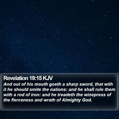 Revelation 19:15 KJV Bible Verse Image