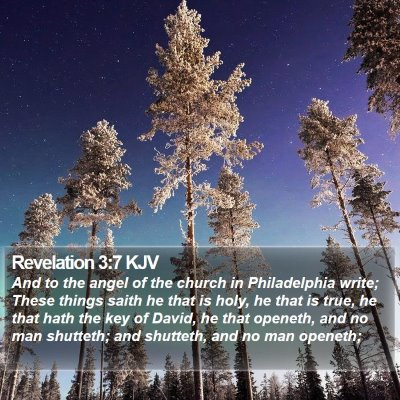 Revelation 3:7 KJV Bible Verse Image