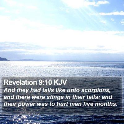 Revelation 9:10 KJV Bible Verse Image