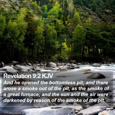 Revelation 9:2 KJV Bible Verse Image