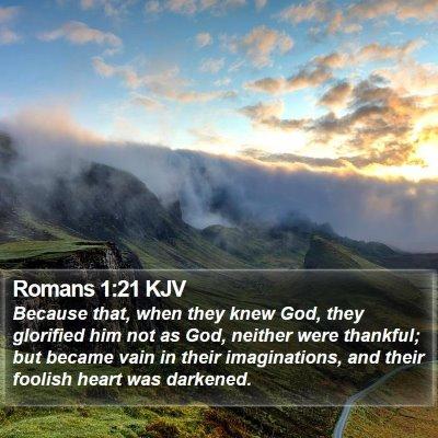 Romans 1:21 KJV Bible Verse Image
