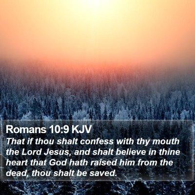 Romans 10:9 KJV Bible Verse Image