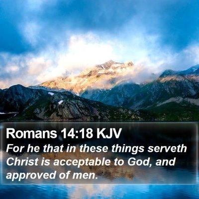 Romans 14:18 KJV Bible Verse Image