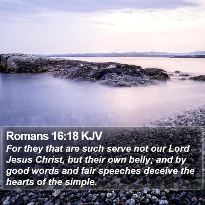 Romans 16:18 KJV Bible Verse Image