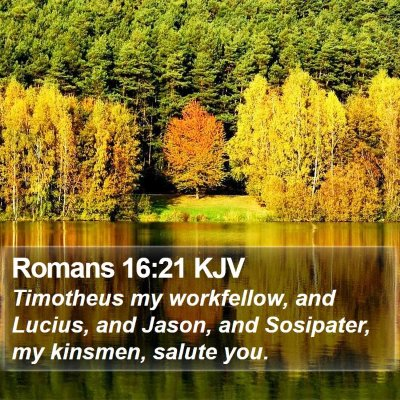 Romans 16:21 KJV Bible Verse Image