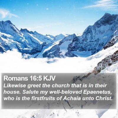 Romans 16:5 KJV Bible Verse Image