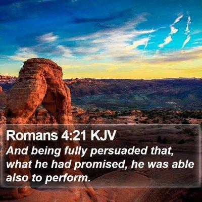 Romans 4:21 KJV Bible Verse Image