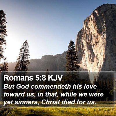 Romans 5:8 KJV Bible Verse Image