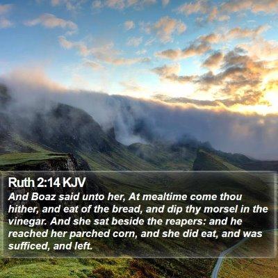 Ruth 2:14 KJV Bible Verse Image