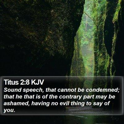 Titus 2:8 KJV Bible Verse Image