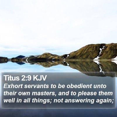 Titus 2:9 KJV Bible Verse Image