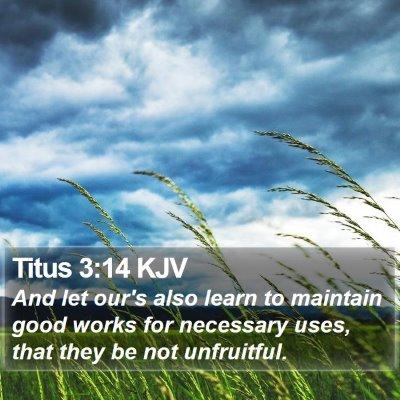 Titus 3:14 KJV Bible Verse Image