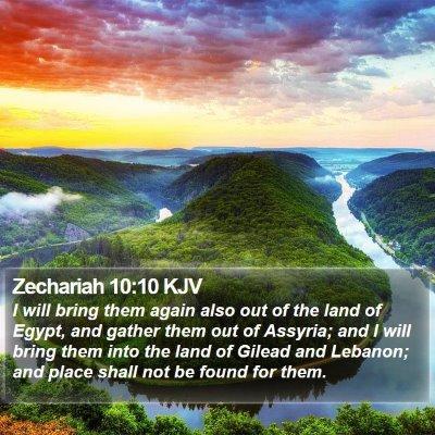 Zechariah 10:10 KJV Bible Verse Image