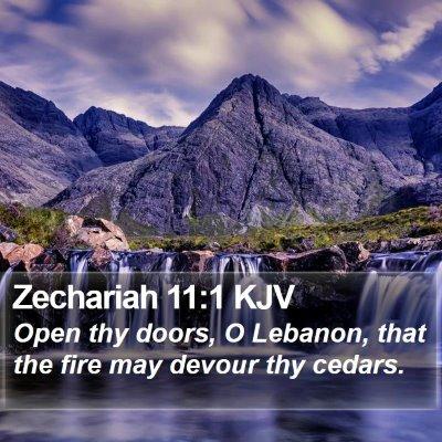 Zechariah 11:1 KJV Bible Verse Image