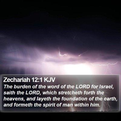 Zechariah 12:1 KJV Bible Verse Image