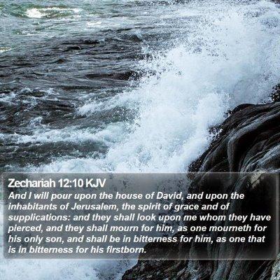 Zechariah 12:10 KJV Bible Verse Image