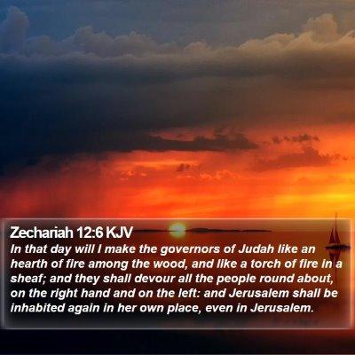 Zechariah 12:6 KJV Bible Verse Image