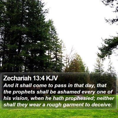 Zechariah 13:4 KJV Bible Verse Image