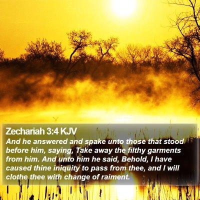 Zechariah 3:4 KJV Bible Verse Image