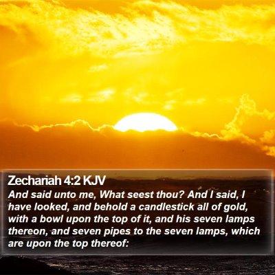 Zechariah 4:2 KJV Bible Verse Image