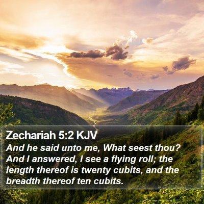 Zechariah 5:2 KJV Bible Verse Image