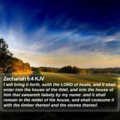 Zechariah 5:4 KJV Bible Verse Image