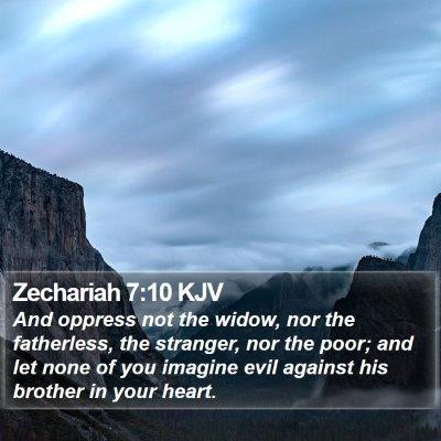 Zechariah 7:10 KJV Bible Verse Image