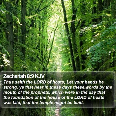 Zechariah 8:9 KJV Bible Verse Image