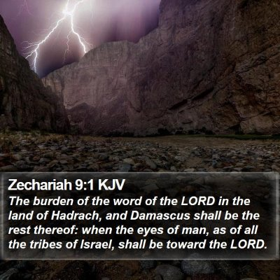Zechariah 9:1 KJV Bible Verse Image