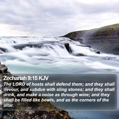 Zechariah 9:15 KJV Bible Verse Image