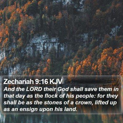Zechariah 9:16 KJV Bible Verse Image