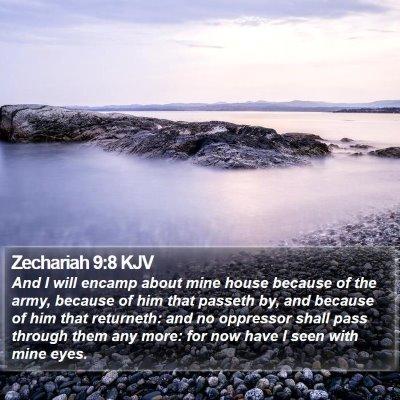 Zechariah 9:8 KJV Bible Verse Image