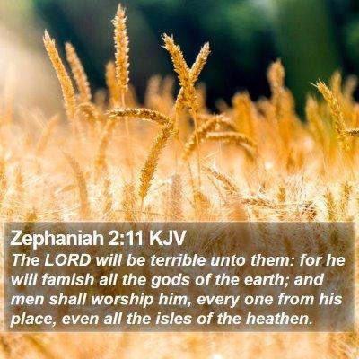 Zephaniah 2:11 KJV Bible Verse Image