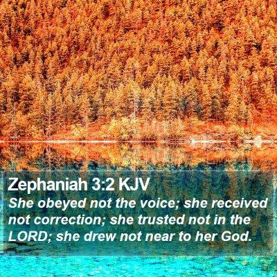 Zephaniah 3:2 KJV Bible Verse Image