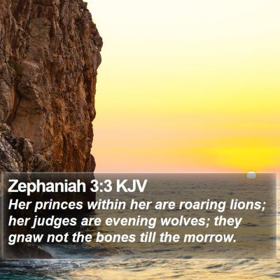 Zephaniah 3:3 KJV Bible Verse Image