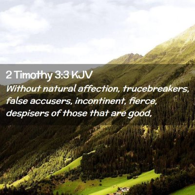 Picture 02 - 2 Timothy 3:3 KJV - Without natural affection, trucebreakers, false - Bible Verse Picture