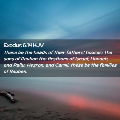 Picture 02 - Exodus 6:14 KJV - These be the heads of their fathers' houses: The - Bible Verse Picture