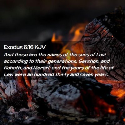 Picture 02 - Exodus 6:16 KJV - And these are the names of the sons of Levi - Bible Verse Picture