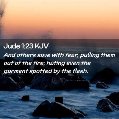 Picture 02 - Jude 1:23 KJV - And others save with fear, pulling them out of - Bible Verse Picture